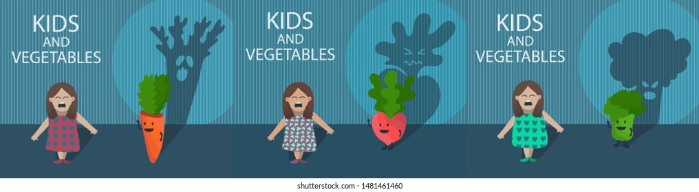 Creative concept illustration set with little girl who afraid of catroon vegetable characters - broccoli, carrot, raddish behind her with huge ugly shade. Crying child don't like veggies.  Scary room.