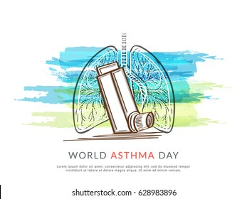 Creative Concept illustration Of World Asthma Day With Inhaler And Stylish Text on Isolated Background.