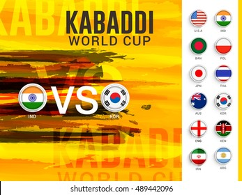 Creative concept of India VS South Korea, kabaddi Match with participant countries with abstract illustration grungy background.