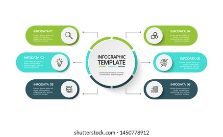 Creative concept for infographic with 6 steps, options, parts or processes. Business data visualization. Vector business template for timeline presentation.