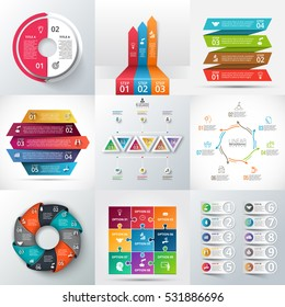 Creative concept for infographic. Abstract elements of graph, diagram with 2, 3, 4, 5, 6, 7, 8, 9 and 10 steps, options, parts or processes. Vector business template for presentation. Stroke icons.