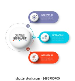 Creative concept for infographic. Business data visualization. Abstract elements diagram with 3 steps, options, parts or processes. Vector business template for presentation.