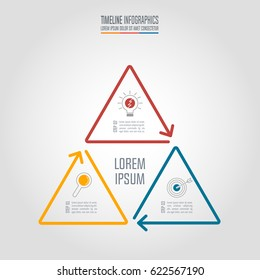 Creative concept for infographic. Timeline infographic design vector and marketing icons for presentation, workflow layout, diagram, annual report, web design. Business concept with 3 options.