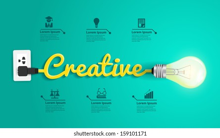 Creative concept modern design template, Light bulb idea abstract infographic workflow layout, diagram, step up options, Vector illustration