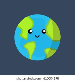 creative & concept planet Earth globe with a sweet & cute face smiling for humanity earth day cartoon modern flat design style. save the world illustration vector with green & light blue colors