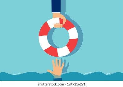 Creative concept vector design of businessman assisting to colleague giving lifebuoy
