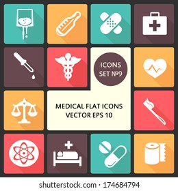 Creative concept vector Flat Icons of medical elements for Web and Mobile Applications. Vector illustration creative template design, Business software and social media