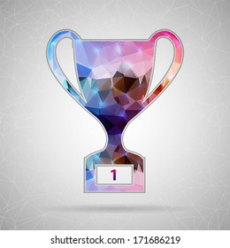 Creative concept vector icon of trophy cup for Web and Mobile Applications isolated on background. Vector illustration creative template design, Business software and social media.