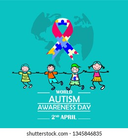 Creative concept vector illustration for World Autism awareness day. - Vector