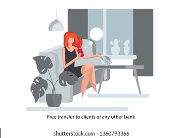 Creative conceptual business banking finance vector illustration. Woman using mobile banking app.