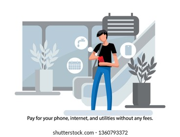 Creative conceptual business banking finance vector illustration. Man using mobile banking app.