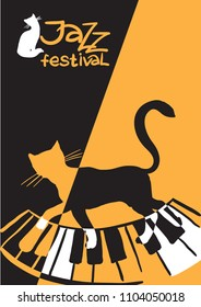 Creative conceptual music festival vector. Cat on the piano.