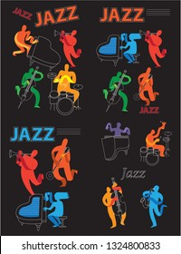 Creative conceptual music festival vector set. Band playing musical instruments.