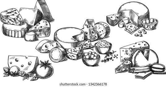 Creative conceptual vector set. Sketch hand drawn different sorts of cheese tomato spices illustration, engraving, ink, line art, vector.