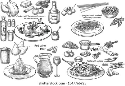 Creative conceptual vector set. Sketch hand drawn set of 4 bestseller Mediterranean dishes pasta chicken wine vegetables seafood illustration, engraving, ink, line art, vector.