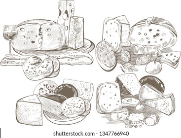 Creative conceptual vector set. Sketch hand drawn different sorts of cheese wine spices vegetables illustration, engraving, ink, line art, vector.
