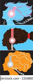 Creative conceptual vector set. Woman listening to the music in headphones.