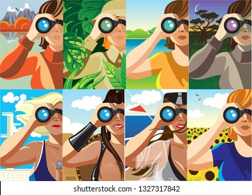 Creative conceptual vector set. Woman looking through the binoculars.