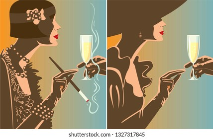 Creative conceptual vector set. Woman with a glass of champagne.