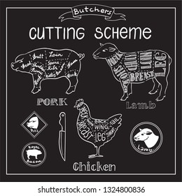 Creative conceptual vector. Sketch hand drawn set meat at butchers shop recipe illustration, chalk, ink, line art, vector.
