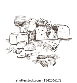 Creative conceptual vector. Sketch hand drawn cheese illustration, engraving, ink, line art, vector.