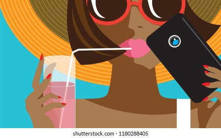 Creative conceptual vector. Womans face with mobile phone and cocktail.