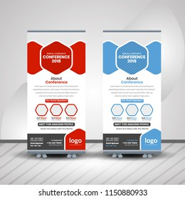 Creative Conference roll-up design, business concept. Graphic template roll-up for exhibitions, banner for seminar, layout for placement of photos. Universal stand for conference,