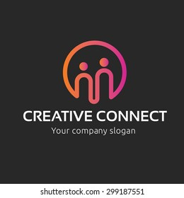 Creative Connect Logo, People and Family Logo Template