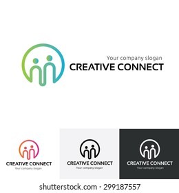 Creative Connect logo template, People ,family ,insurance ,community, social symbol.
