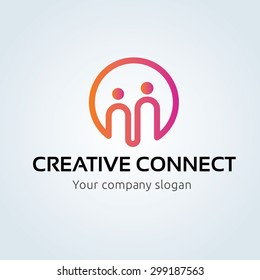 Creative Connect, People, family ,insurance Vector logo template