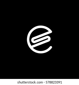Creative connected  black and white circle shape ES SE initial based icon logo