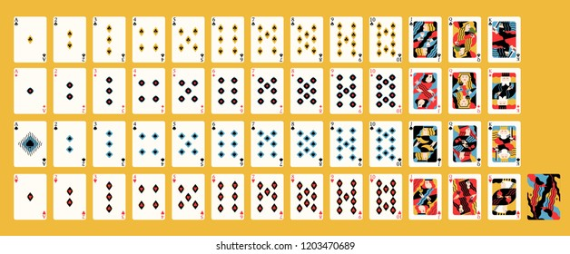 Creative contemporary artistic design of classic French deck of playing cards with traditional suits for casino game. Front and back sides. Bright colored vector illustration in modern flat style.