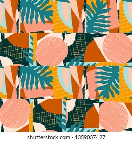 Creative contemporary floral art background. Abstract collage seamless pattern in vector.