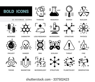 Creative contemporary icon set in a linear style. Scientific experiments, physics and chemistry, biology, microbiology, nuclear, biological weapons of mass destruction, medical testing on animals.