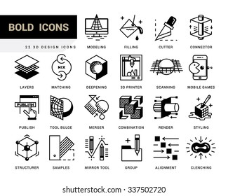 Creative contemporary icon set in a linear style. 3D design, working with objects, tools for 3D modeling, scanning and recognition of shapes, 3D printing, game design, polygonal modeling, rendering.
