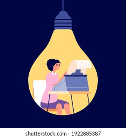 Creative copywriting. Creativity content, blog write or opinion posting. Author thinking in light bulb, creator or idea creation uttern vector concept