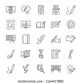 Creative copywriting vector illustration icon collection set. Black outlined basic elements that represents marketing, advertising and salesmanship with written word. Information in phone or tablet.