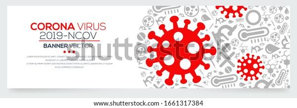 Creative (Corona virus -2019-nCoV ) Banner Word with Icons ,Vector illustration.