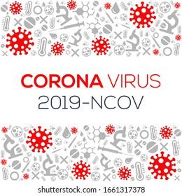 Creative (Corona virus -2019-nCoV ) Word mit Symbolen , Vektorillustration Illustration.