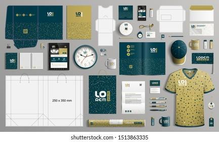 Creative Corporate Identity Template Design mit Muster aus Punkten. Bürobedarf