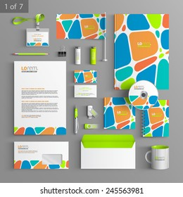 Creative corporate identity template design with color geometric elements. Business stationery