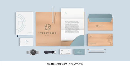 Creative corporate style for wood or furniture company. Vector branding identity template set.