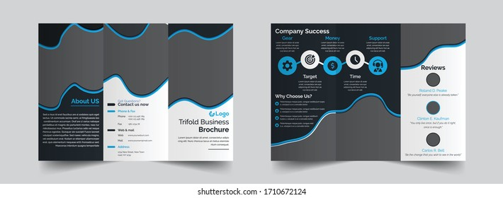 The creative corporate vector editable layout of square format covers design templates for trifold brochure, flyer, magazine. Creative trendy style mockups, blue color trendy design backgrounds.