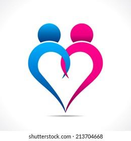 creative couple icon or happy valentine day design vector