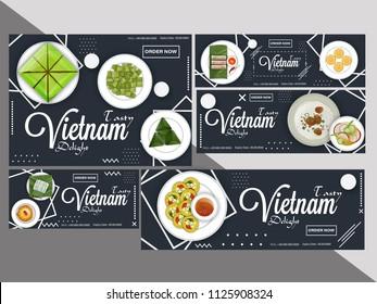 Creative coupon or voucher set for Vietnam cuisine restaurant.