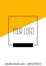 Kreatives Cover-Design mit orangefarbenen Beilagen. Firmenbanner mit stylischen geometrisch gelben Formen. Letterhead mit Platz für Text mit hellen Farben.