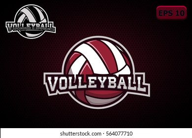 Creative crafted logo for the volleyball team, on a dark background