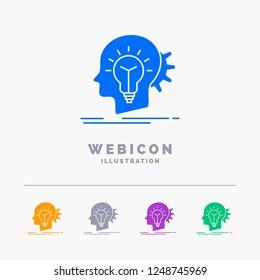 creative, creativity, head, idea, thinking 5 Color Glyph Web Icon Template isolated on white. Vector illustration