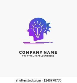 creative, creativity, head, idea, thinking Purple Business Logo Template. Place for Tagline.