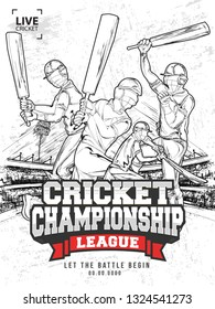 Creative cricket championship league template design, hand drawn illustration of cricket players in playing pose.